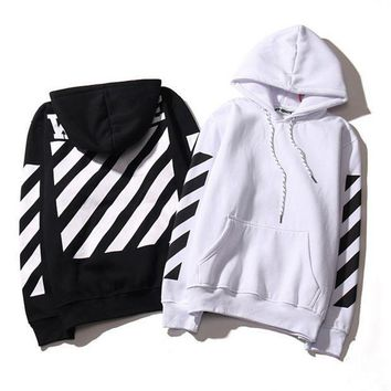 PEAPDQ7 Fashion off White Striped Hoodies Sweatshirt Pullover In Black & White