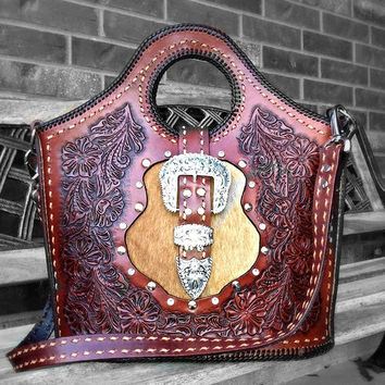 Custom Tooled Leather Purse with Swarowski Crystal Rivets/Gems and Hair-On Cowhide