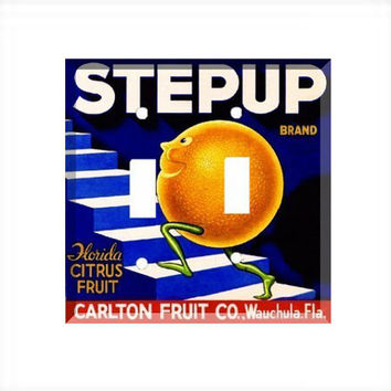 Double Light Switch Cover - Light Switch Plate Vintage Crate Label Step Up Florida Oranges
