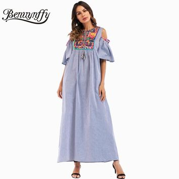 Benuynffy Ethnic Embroidery Patch Summer Long Dress Women Ladies Casual Vintage Tassel Tie Cold Shoulder O-neck Maxi Dress Q871