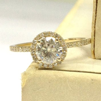 Moissanite Engagement Ring Solid 14K Yellow Gold!Diamond Wedding Bridal Ring,6.5mm Round Cut Charles & Colvard Moissanite,Halo,Fashion Fine