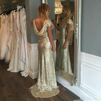 Champagne Gold Sequins Long Bridesmaid Dresses 2016 Sparkly Sheath Short Sleeve Backless Wedding Party Gowns Maid of Honor Dress