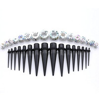 "PiercingJ 32pcs 12G-1/2"" (2-12mm) Black Acrylic Ear Tapers Stretching Kit + Colorful Acrylic Tunnel Gauge Set"