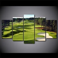 5 Piece Golf Course Green and Fairway Sandtrap Wall Art Canvas