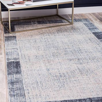0151 Gray Border Modern Geometric Contemporary Area Rugs