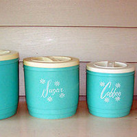 1950s Aqua Blue Turquoise Mid Century Kitchen Canister Set, Plastic Set of 4 50s