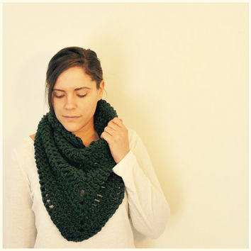 Green Shawl Crochet Spring Accessory Scarf Cowl Poncho Blanket Hippie Bohemian Style Women's Ladies Green Evergreen