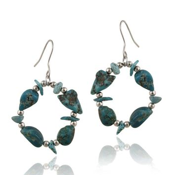 925 Silver Turquoise Chips Open Circle Dangle Earrings