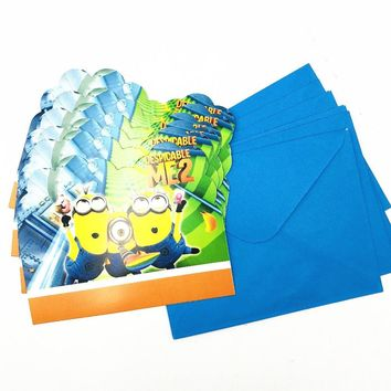 6pcs/set Minions Babyfavor Invitation Card Party For Kid Birthday Decoration Cartoon Theme Party Supply Festival Supplies Set