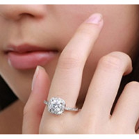 Emerald cut Cubic Zirconia Platinum Plated Wedding Ring for Women