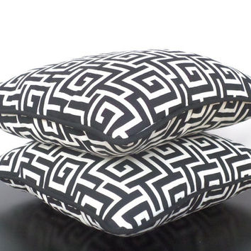 Black and white outdoor pillow cover in 16x16, greek key cushion for outside decoration