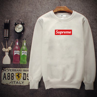 Supreme Round collar blouse head movement sweater White