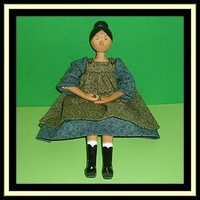 """2002 - Handmade Hitty Friend Jointed Wooden Doll - 10 3/4"""" (item #1293751)"""