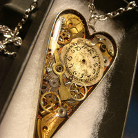 Clockwork Heart with Gears and Watch Parts Steampunk Pendant Heart Necklace- Great Valentines Day Gift (2206)