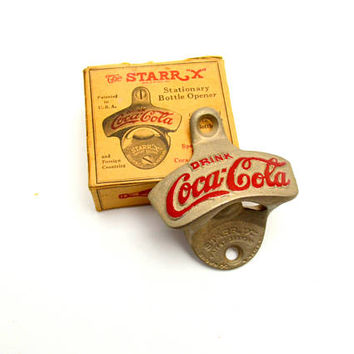 Vintage Coca Cola Bottle Opener, Wall Mounted Starr X Stationary Bottle Opener, Brown Mfg, With Box, 1940s-1970s