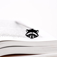 Bookmark Racoon  laser cut metal powder coated black Stylish unique gift for book lover Free shipping.