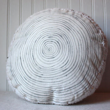 Birch Tree Ring Pillow, Log Pillow, Upcycled Throw Pillow,