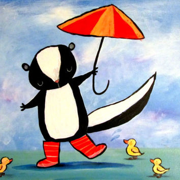Woodland Skunk with Umbrella and Ducks Kids Wall Art Whimsical Nursery Children's Room Decor Original Painting for Babies