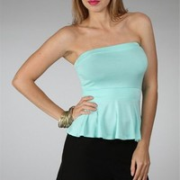 Mint Strapless Top