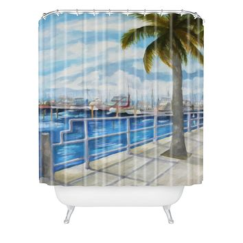 Rosie Brown Dinner Key Marina Stroll Shower Curtain