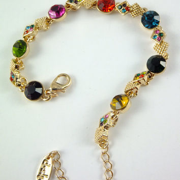 Bracelet Sparkling Rhinestone Ruby Red Purple Emerald Green Blue Gold Tone Chain Prom Jewelry Assemblage Jewelry Handmade