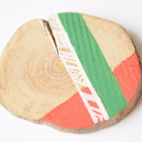 Coral and Green Brooch - Painted Branch