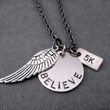 FLY YOUR DISTANCE BELIEVE Round Pendant Necklace - Choose 5K, 10K, 13.1 or 26.2 - Pewter Wing and Nickel pendants priced with Gunmetal chain