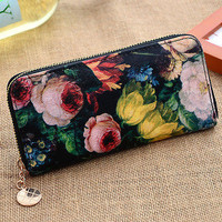 Oil Painting Long Clutch Leather Wallet