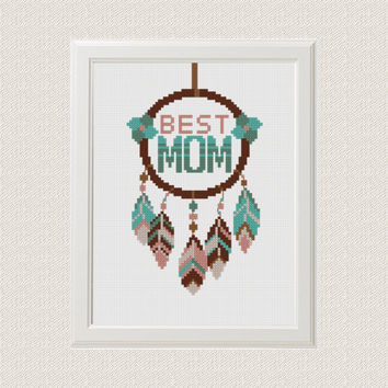 Best MOM cross stitch pattern dreamcatcher, native american, modern cross stitch, boho, unique gifts for mom