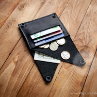 Leather wallet woman coin pocket wallet slim wallet minimal wallet black genuine leather wallet credit card wallet card holder travel wallet