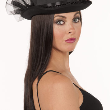 Top Hat-W/Ruffle & Netting-Black