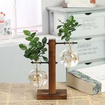 Vintage Style Glass Tabletop Plant Bonsai Flower Christmas Decorative Vase With Wooden L/T Shape Tray Home Decoration Accessory
