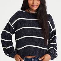 AE Chenille Balloon-Sleeve Sweater, Navy