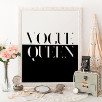 THE VOGUE QUEEN Vogue Typography Print Fashionista  Vogue Gift Printable Art Fashion Wall Decor Print Modern Art Bedroom Home Decor White