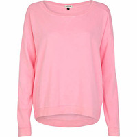 Bright pink dip hem sweatshirt - sweaters / hoodies - t shirts / tanks / sweats - women