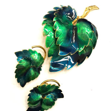 Weiss Enamel Leaf Demi, Shades Blue Green Enamel, Brooch and Earring Set, Gold Tone Metal, Designer Signed