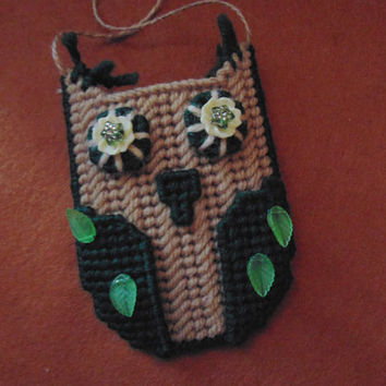 Needlepoint Owl Beaded Green Gift Card Business Card Holder Owl Ornament Holiday Decor