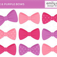 Pink and Purple Bows Cute Clip Art - bows pink purple magenta stripes polka dots - Commercial Use Scrapbook, Invitations, Cards