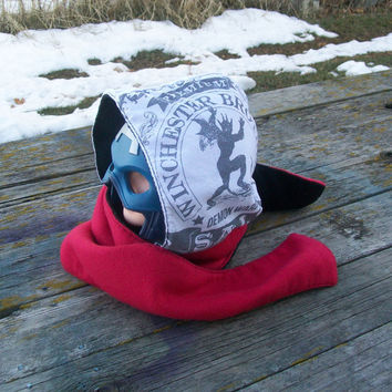Upcycled Winchester Demon Warding Shirt Fleece Hooded Scarf Scoodie Ready to Ship