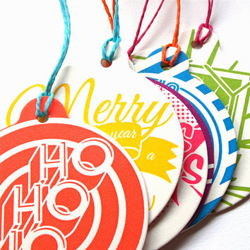 SALE! Letterpress Christmas Tree Ornaments and Coaster Set