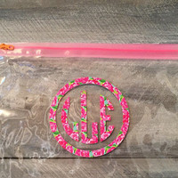 Lilly Pulitzer Inspired Monogram Pencil Pouch * free shipping *