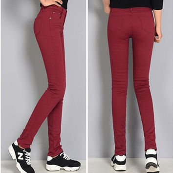 Color Pencil Pants Plus Velvet Jeans Ladies Denim