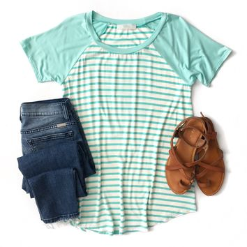 Mint Striped Baseball Top