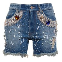 Sequinned Denim Shorts with Jewel Embellishment - ASHISH