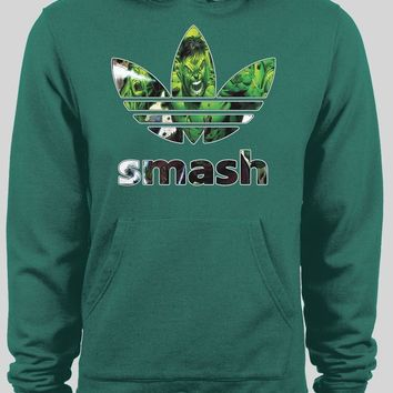 ADIDAS HULK SMASH COMIC ART MASH UP CUSTOM ART WINTER HOODIE