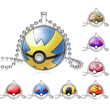 Cute  Go Pokeball Pikachu Pendant Necklace For Women Statement Handmade Glass Long Necklace Jewelry Gift 620257Kawaii Pokemon go  AT_89_9