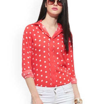 Buy FabAlley Women Coral Red Polka Dot Print Top - 310 - Apparel for Women