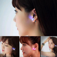 2016 Hot Sale 1PCS Charm LED Earring Light Up Crown Glowing Crystal Stainless Ear Drop Ear Stud Earring Jewelry