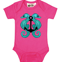 Seahorse Anchor Hot Pink One Piece