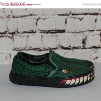 40% OFF Alligator Vans Canvas Sneakers Kids 1.5  Slip on Green Black Monster Dinosaur Print Youth Girls Boys Shoes Grunge Punk Hipster